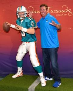 Dan Marino poses with his wax figure